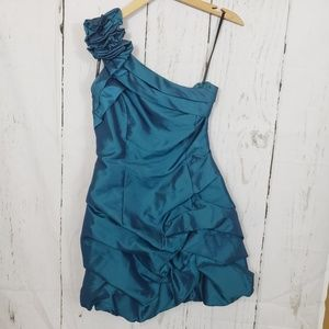 Jessica McClintock aquamarine cocktail dress sz 7